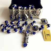 Bali STERLING 925 SILVER ROSARY BEADS LAPIS LAZULI NECKLACE CROSS BOX catholic