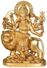 "Large Mother Durga Lion Jai God Statue 25"" Golden Brass Hindu Figure Sale 33.3KG"