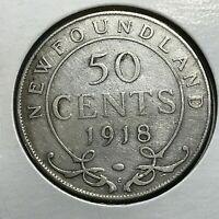 1918 NEWFOUNDLAND CANADA SILVER 50 CENTS
