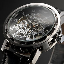 Mens Steampunk Skeleton Mechanical Wrist Watch Vintage Leather Stainless Steel