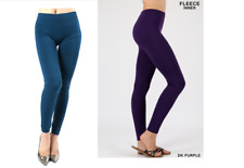 2pc Lot One Size NEW WOMENS  FLEECE Teal & Purple LEGGING Yoga Pants Seamless