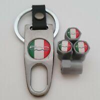 FIAT 500 ITALY Plastic Valve DUST CAPS Keyring Keychain Spanner all cars 500X