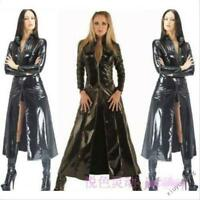 Gothic Womens Patent Leather Trench Coat Cosplay Motorcycle Jacket Nightclub Hot