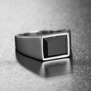 Stainless Steel Signet Rings with Black Agate Wedding Ring for Men Silver Band