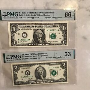 FR#1939-L& FR#1919-K Matching Super Repeater Serial Numbered Notes.Rare $2.00