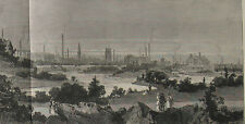 1882 Large Antique Print - Panoramic Views of Leicester from the new Abbey Park