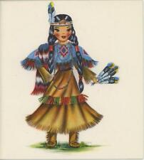 VINTAGE INDIAN GIRL DOLL BLACK HAIR FEATHER BUCKSKIN COSTUME NOTE CARD ART PRINT