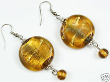 AMBER chunky SILVER FOIL GLASS EARRINGS match necklace!