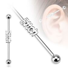 BITCH Logo Stainless Industrial Bar Scaffold Ear Barbell Rings PIERCING JEWELRY