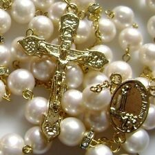 CATHOLIC GOLD 8MM Cream White REAL PEARL BEADS NECKLACE ROSE ROSARY CROSS BOX