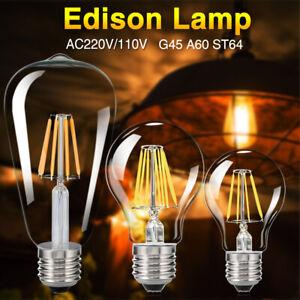 E27 4-16W COB LED Retro Edison Filament Light Bulb Vintage ST64/G45/A60 Lamps