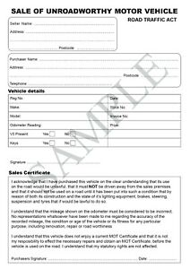 Unroadworthy Vehicle Invoice Pad - selling unroadworthy cars
