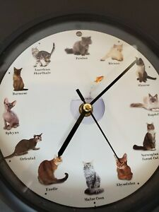 Cat Sounds Round Wall Clock Meows On The Hour Works Kitten 8 inch HTF works