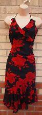 BAY BLACK RED ROSES FLORAL HALTERNECK STRAPPY FRILL A LINE SUMMER TEA DRESS 14 L