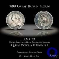 1899 Great Britain Florin - Victorian Sterling Silver (Higher Grade)