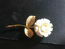 Vintage Genuine Fine Hand Carved Ivory Flower Pin Brooch Figurine See Photo