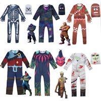 Skull Trooper Raven Costume Boys Kids Carnival Party Cosplay Jumpsuit Mask 4-18