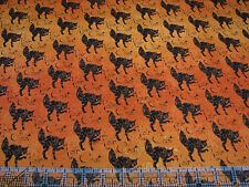 3 Yards Cotton Fabric- Timeless Treasures Halloween Wicked Black Cat Noir Chat O