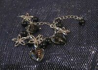 Gorgeous silver tone metal chain bracelet with heart beads & star charms