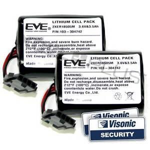 Visonic Siren Battery Twin Pack MCS-740 PowerMax Bell Box & Stickers 103-304742