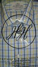 "Harvie & Hudson 15.5""/36"" 100% Cotton Navy/Lemon Check Shirt Double Cuff Reg Fit"