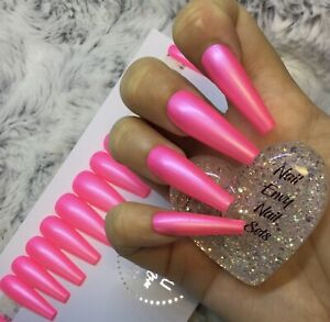 Pink Cream False Press On XL Ballerina Nails Set