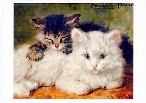 Henriette Ronner-Knip Art Print WHITE & DARK TABBY Kitten Cute Sleeping Kittens