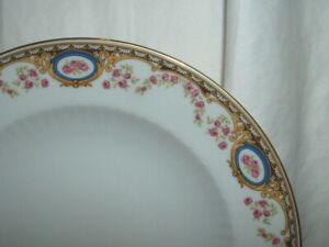 "4 Mitterteich Bavaria 9 1/2"" Rimmed Soup Bowls Pink Flowers w/Gold Trim"