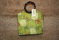 Prezzo Women's Purse Beaded Embellished Canvas Bamboo Handle New NWT Lime Green