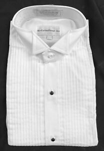 New Men's White Tuxedo Shirt Pleated Front Comfort Fit Wing Collar 17 32/33
