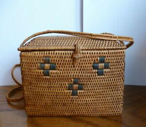 Vintage Petite Bamboo Wicker Woven Patterned Box Shoulder Handbag