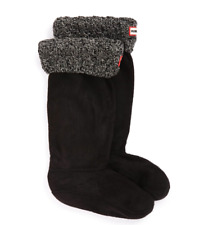Hunter Original Womens Black Tall Cable Knit Cuff Welly Boot Socks Sz M 6404