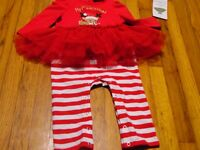 Rare Editions Reindeer Tutu My 1st Christmas Red Striped One-Piece 18 month NWT