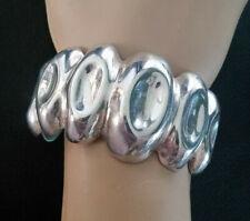 VTG Sterling Silver Bracelet Brutalist Modernist Statement Cuff Signd Mexico 376