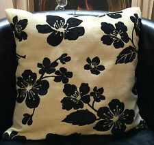 Beige with Black Flowers Evans Lichfield Cushion Cover