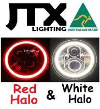 "7"" LED Headlights RED and WHITE Halo Mini Cooper S Clubman Moke Morris Minor"