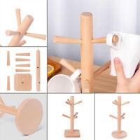 Wooden Mug Rack Tree 6 Hooks Removable Mug Stand Coffee Tea Cup Organizer Holder