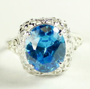 Glacier Blue CZ, 925 Sterling Silver Ladies Ring, SR009-Handmade