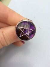 FREE GIFT BAG Purple Pentacle Wicca Pagan Witchcraft Silver Adjustable Ring