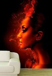 Vlies XXL Poster Fototapete Tapete Frau in Flammen