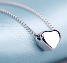 925 Sterling Silver Pendant Small Heart Necklace Jewelry Women's Modern Classic