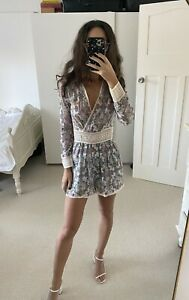 Zimmermann Playsuit Size 0 Paisley Print With Crochet Waist And Trim