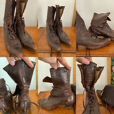 Antique Victorian / Edwardian Brown Leather Lace Up Boots Shoes