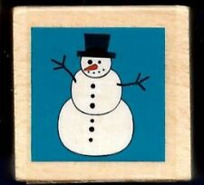 SNOWMAN Carrot Nose Stick Arms small Gift Tag Card NEW Wood Craft RUBBER STAMP