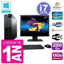 "PC LENOVO M82 SFF Screen 27 "" i7-3770 RAM 16Go Disk 250Go DVD Burner Wifi W7"