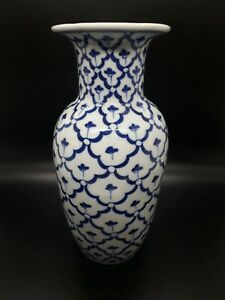 A Gorgeous and Unusual Vintage Oriental Blue and White Porcelain Vase - Heavy