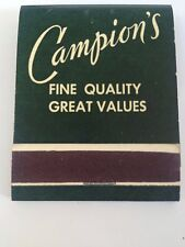 Campion Store matchbook Dartmouth Hanover unstruck front strike campions NH