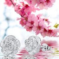 Women Cherry Blossoms Lady Elegant Crystal Silver Color Ear Stud Earrings