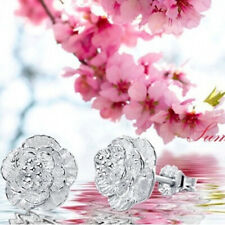 Women Cherry Blossoms Lady Elegant Crystal Silver Color Ear Stud Earrings