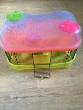 Hamster cage, split level - neon green, orange and blue